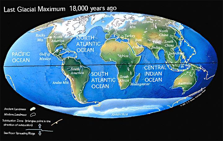 Paläoweltkarte: Letzte Eiszeit vor 18.000 Jahren